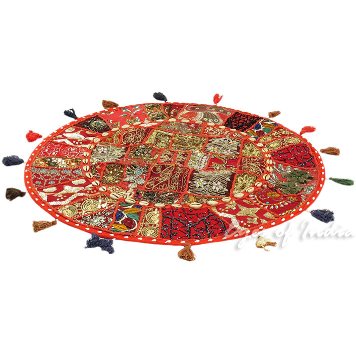28-034-Red-Patchwork-Floor-Cushion-Seating-Pillow-Throw-Cover-Bohemian-Accent-India thumbnail 12