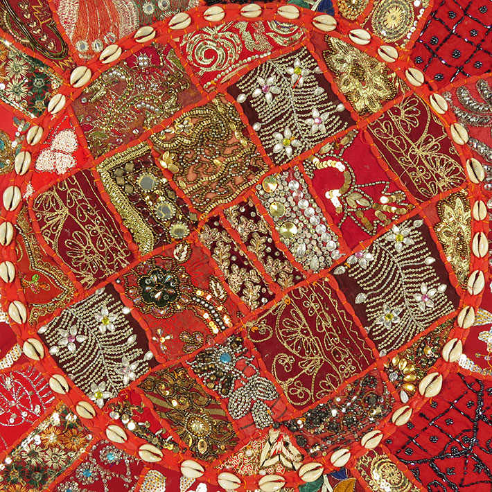 28-034-Red-Patchwork-Floor-Cushion-Seating-Pillow-Throw-Cover-Bohemian-Accent-India thumbnail 13