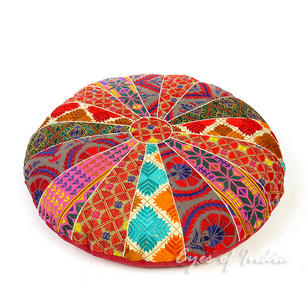 Colorful Bohemian Embroidered Round Boho Floor Seating Meditation Pillow Cushion Cover - 22""
