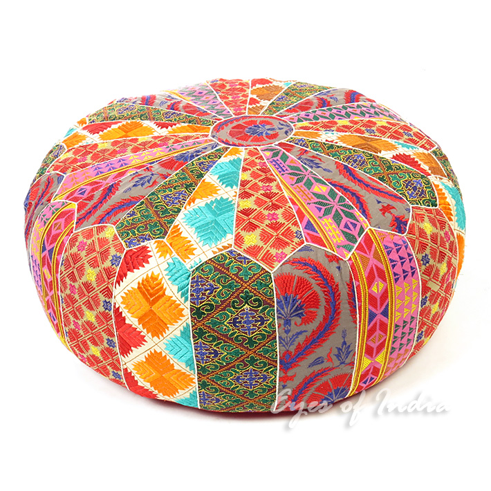 Round Bohemian Ottoman Pouf Pouffe Cover Boho Colorful Floor Seating Stunning Indian Pouf Covers
