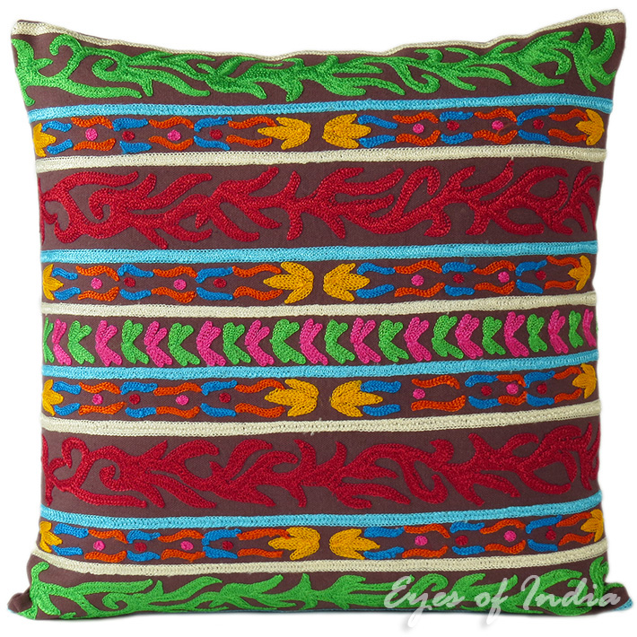 Colorful Blue Red Green Embroidered Throw Pillow Boho Bohemian Couch Sofa Cushion Cover - 16""