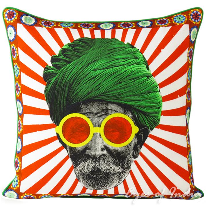 "Man with Turban Colorful Decorative Boho Bohemian Pillow Couch Cushion Sofa Throw Cover - 18"""