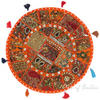 Orange Patchwork Round Bohemian Colorful Floor Seating Meditation Pillow Cushion Cover with Shells - 22""
