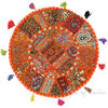 Orange Patchwork Round Bohemian Floor Seating Meditation Pillow Cushion Cover with Shells - 22""