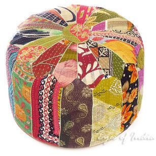 Small Kantha Bohemian Embroidered Boho Ottoman Pouf Pouffe