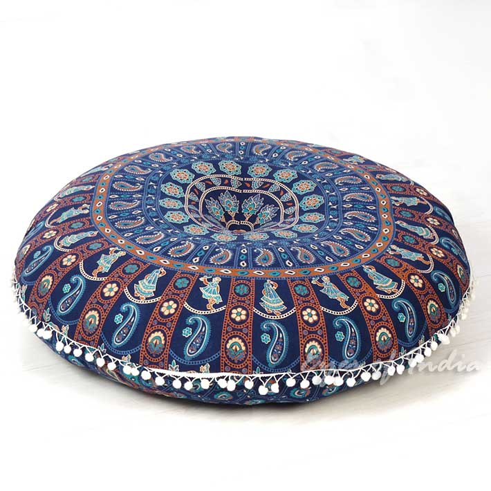 "Colorful Boho Mandala Bohemian Round Floor Seating Meditation Pillow Hippie Cushion Throw Cover - 32"""