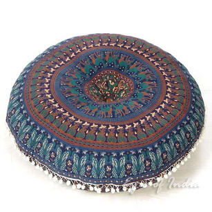 Blue Bohemian Gypsy Round Floor Meditation Pillow Decorative Seating Boho Hippie Mandala Cushion Cover - 32""