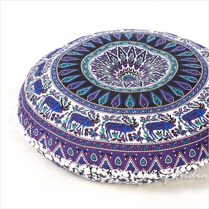 Purple Blue Boho Round Floor Cushion Decorative Seating Mandala Bohemian Sofa Meditation Pillow Cover 32