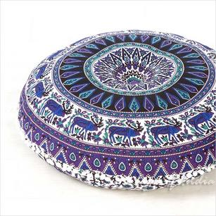 Purple Blue Boho Round Floor Cushion Decorative Seating Mandala Bohemian Sofa Meditation Pillow Cover - 32""