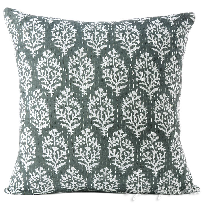 """16"""" Gray Grey Kantha Colorful Throw Sofa Cushion Couch Pillow Cover Indian Bohem"""