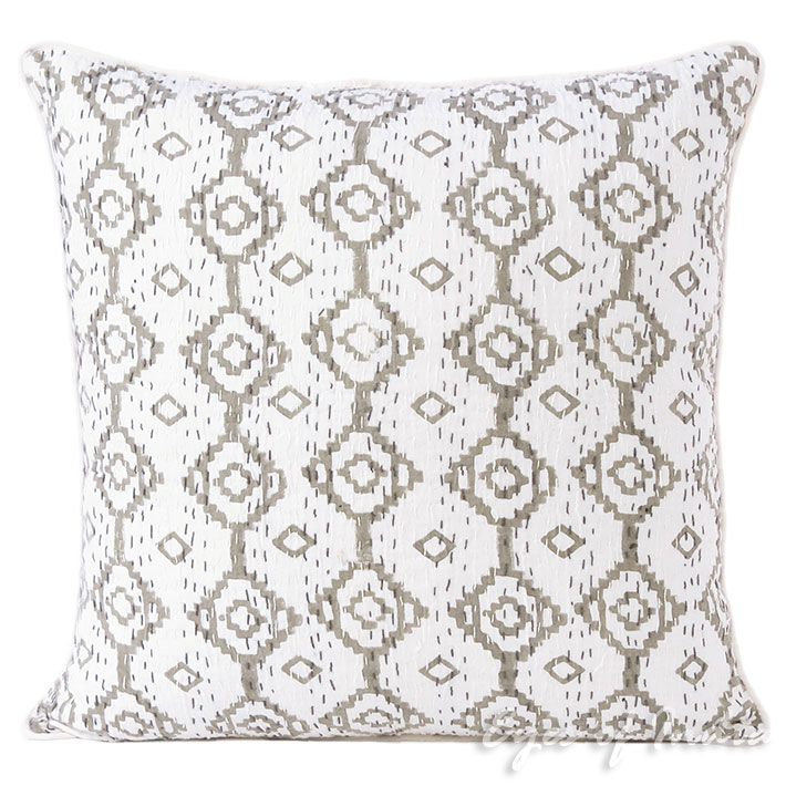 Grey Kantha Gray Colorful Decorative Couch Pillow Cushion Cover Sofa Throw Boho Bohemian - 16""