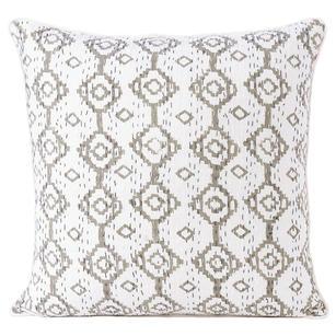 "Grey Kantha Gray Colorful Decorative Couch Pillow Cushion Cover Sofa Throw Boho Bohemian - 16"""