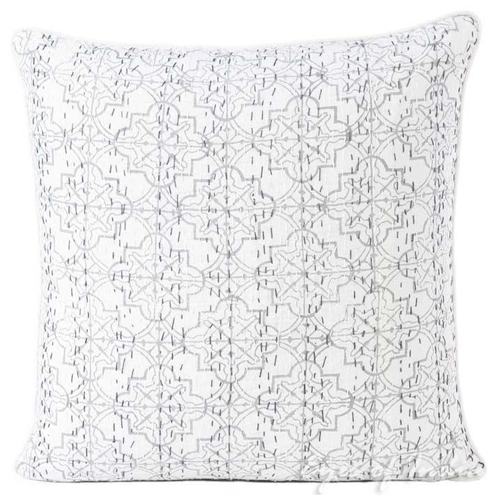 "Gray Grey Kantha Decorative Throw Sofa Cushion Pillow Cover Boho Bohemian - 16"""