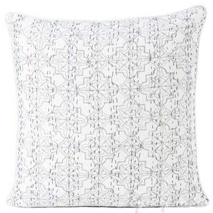 Gray Grey Kantha Decorative Throw Sofa Cushion Pillow Cover Boho Bohemian - 16""
