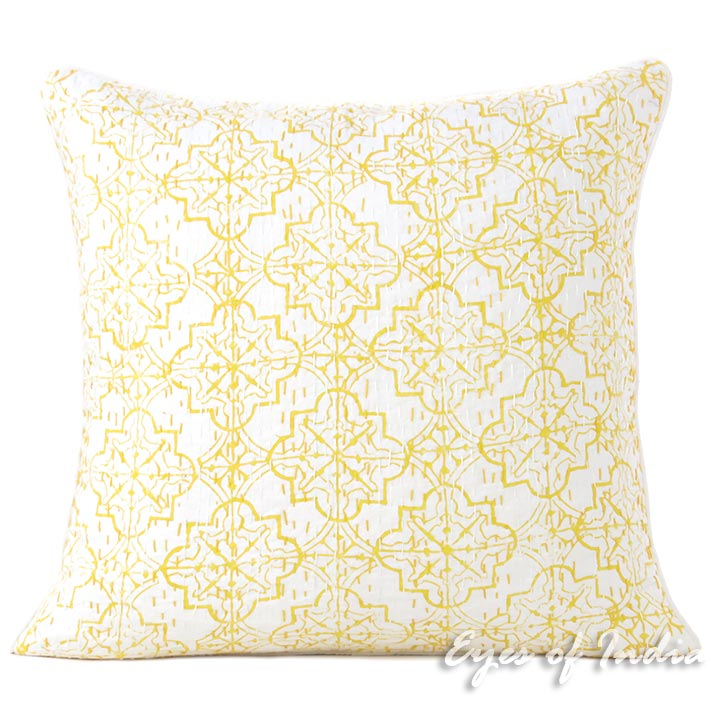 """16"""" Yellow Kantha Decorative Pillow Throw Sofa Cushion Cover Case Couch Indian Bohemian Accent Colorful Boho Chic Handmade"""