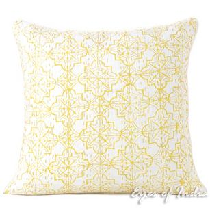 "16"" Yellow Kantha Decorative Pillow Throw Sofa Cushion Cover Case Couch Indian Bohemian Accent Colorful Boho Chic Handmade"