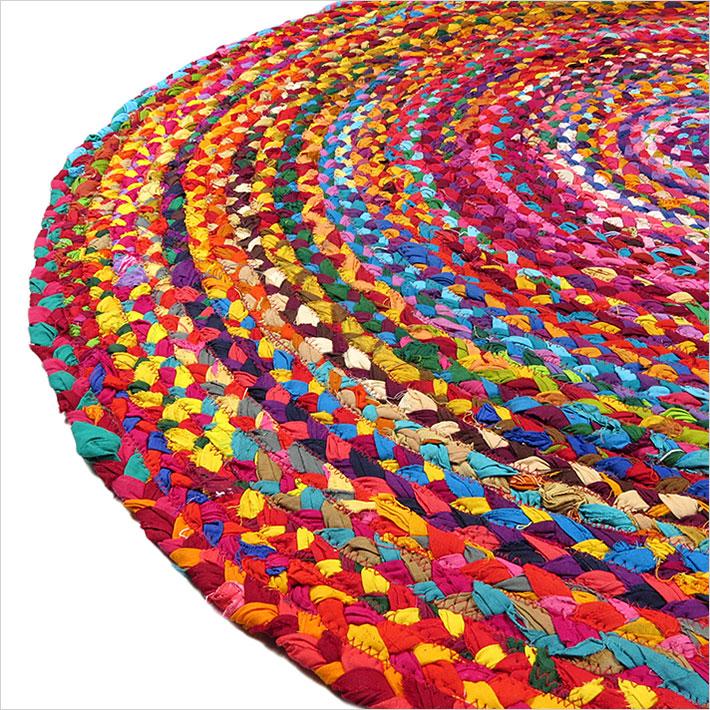 Orange Tan Round Jute Rug Hand Made In India Chindi Rag Rugs