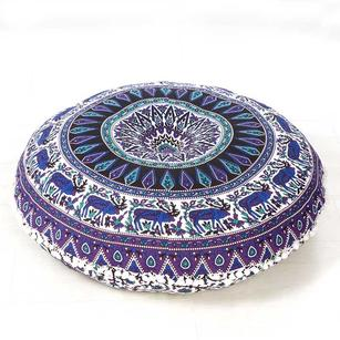Colorful Bohemian Mandala Hippie Round Floor Seating Pillow Meditation Dog Bed Cushion Cover Mandala- 32""