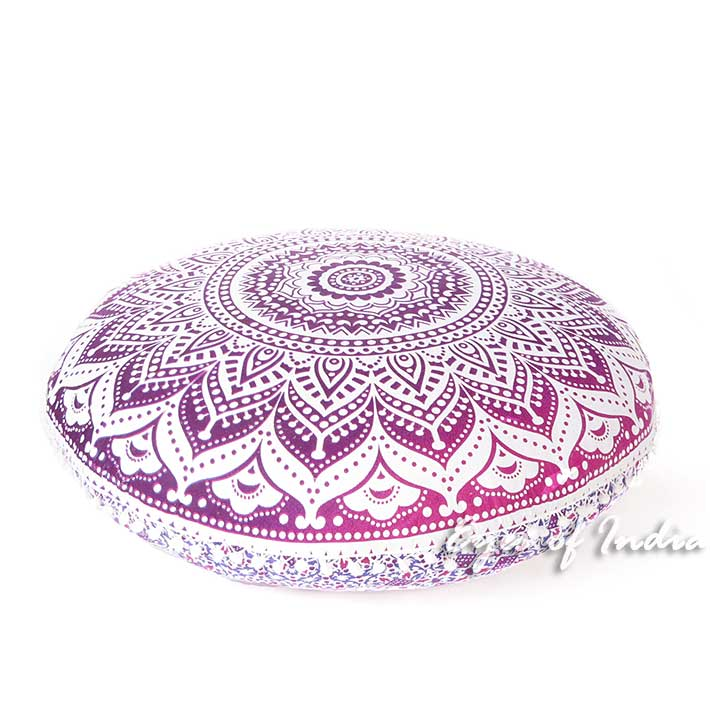 Colorful Mandala Bohemian Hippie Round Floor Seating Meditation Pillow Cushion Cover Mandala Throw- 32""
