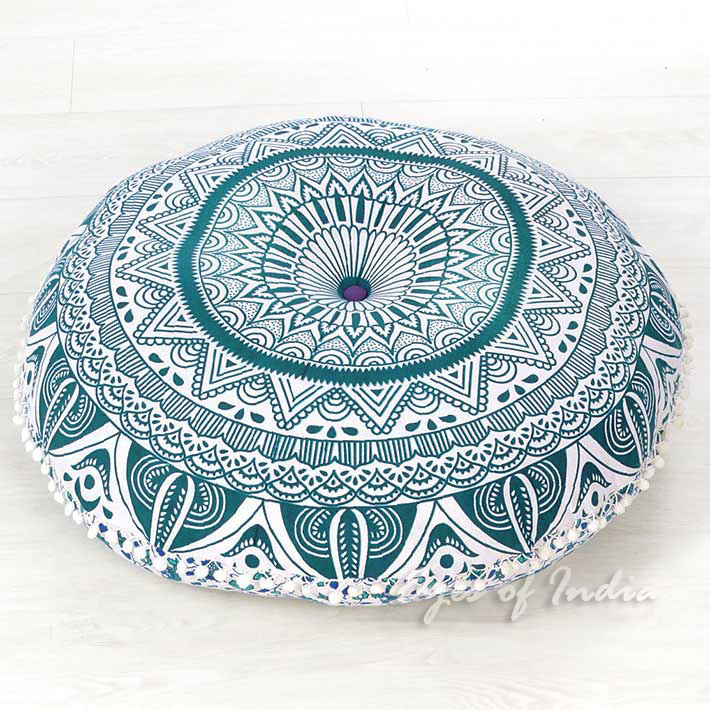 Green Hippie Boho Mandala Hippie Round Colorful Floor Seating Meditation Pillow Cushion Cover - 32""