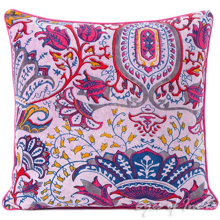 Velvet Floral Flower Decorative Throw Bohemian Boho Couch Cushion Pillow  Cover - 16