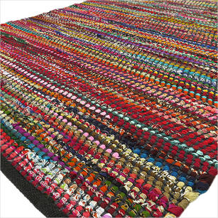 Black Decorative Colorful Woven Chindi Bohemian Boho Rag Rug - 3 X 5 to 5 X 7 ft