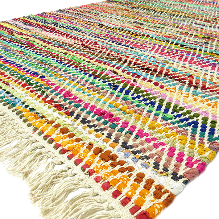 White Colorful Chindi Woven Decorative Bohemian Boho Multicolor Rag Rug - 3 X 5 to 5 X 7 ft.