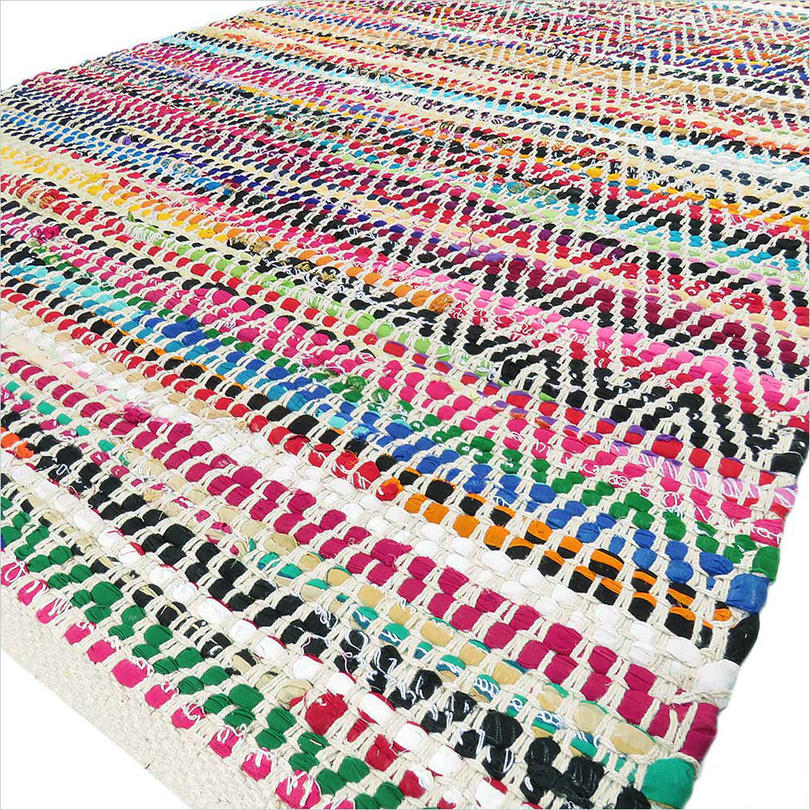 White Colorful Chindi Woven Decorative Bohemian Boho Multicolor Rag Rug - 2 X 3 to 6 X 9 ft.