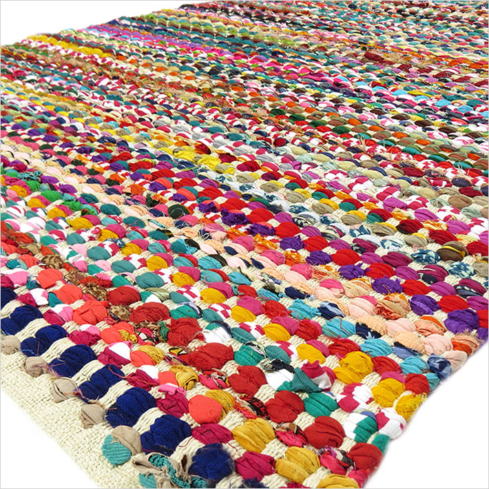White Decorative Colorful Multicolored Chindi Woven Bohemian Boho Rag Rug 3 X 5 Ft To 6 9