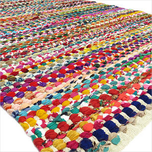 White Decorative Colorful Multicolored Chindi Woven Bohemian Boho Rag Rug - 3 X 5 ft to 6 X 9 ft