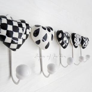 "Ceramic Handmade Bohemian Wall Hooks Coat Boho Key Rack Hangers - 5"""
