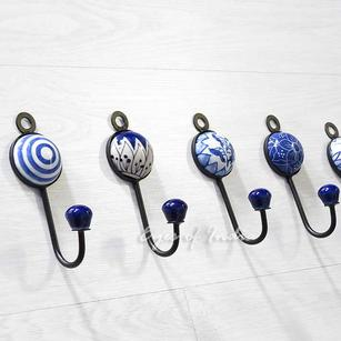 Indigo Blue Decorative Ceramic Boho Bohemian Wall Hooks Hangers Coat Rack - 5""