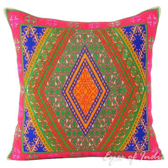 Pink Green Boho Embroidered Decorative Couch Cushion Throw Pillow - 16, 14 X 20