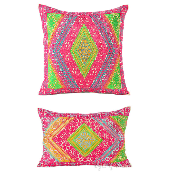Pink Green Colorful Decorative Embroidered Sofa Throw Pillow Couch Cushion Cover Moroccan Bohemian