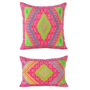 Pink Green Decorative Embroidered Throw Pillow Couch Cushion Cover Moroccan Bohemian