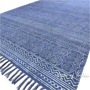 Blue Cotton Block Print Accent Area Dhurrie Rug Flat Weave
