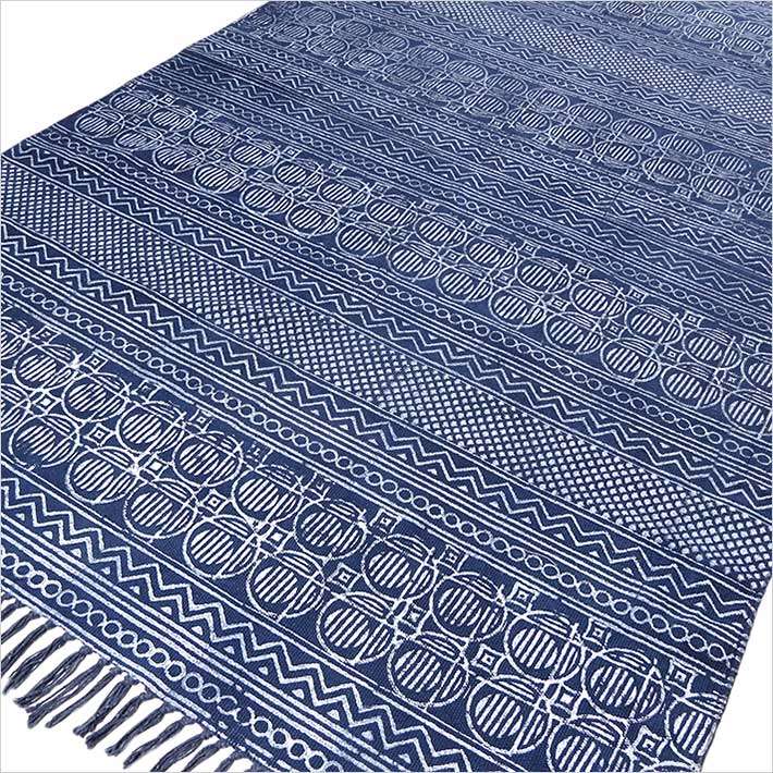 Blue Cotton Block Print Accent Area Boho Dhurrie Rug Flat Weave Hand Woven - 3 X 5, 4 X 6 ft