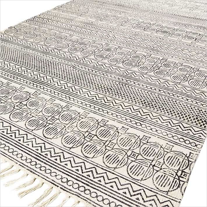 White And Black Cotton Block Print Area Accent Dhurrie Rug Woven Flat Weave 3 X 5 To 7 Ft