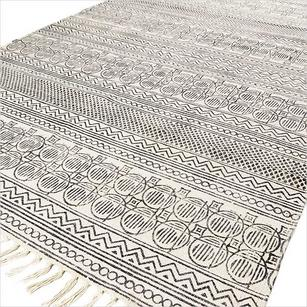 White and Black Cotton Block Print Area Accent Dhurrie Rug Woven Flat Weave - 3 X 5, 4 X 6, 5 X 7 ft