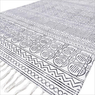 White Black Cotton Block Print Area Accent Dhurrie Rug Woven Flat Weave - 3 X 5 to 8 X 10 ft
