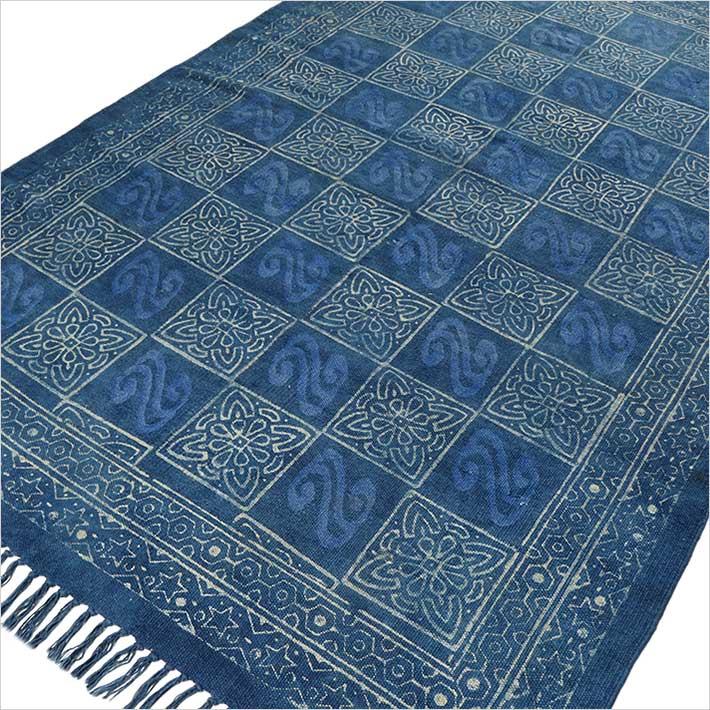 Blue Indigo Cotton Block Print Accent Area Dhurrie Rug Boho Weave - 3 X 5, 4 X 6 ft