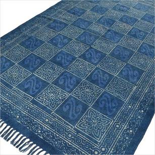 Blue Indigo Cotton Block Print Accent Area Dhurrie Rug Woven Weave - 3 X 5, 4 X 6 ft