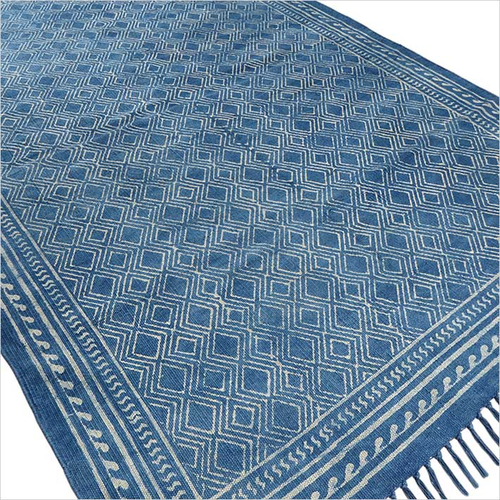 Indigo Blue Cotton Block Print Area Accent Dhurrie Rug Hand Woven Flat Weave 3 X 5 4 6 Ft