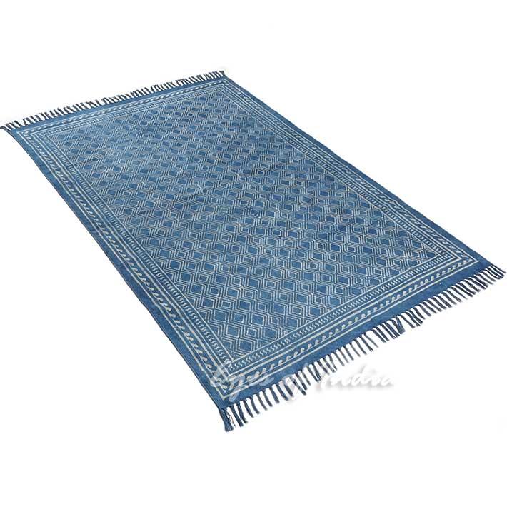 Indigo Blue Cotton Block Print Area Accent Dhurrie Rug