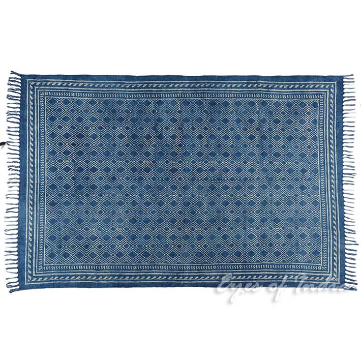 Indigo Blue Cotton Block Print Area Accent Dhurrie Rug