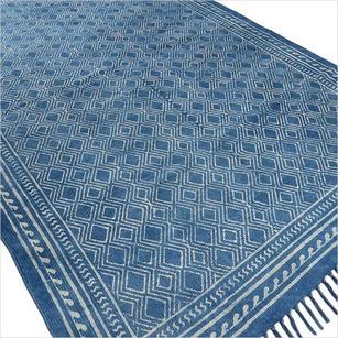 Indigo Blue Cotton Block Print Area Accent Dhurrie Rug Hand Woven Flat Weave - 3 X 5, 4 X 6 ft