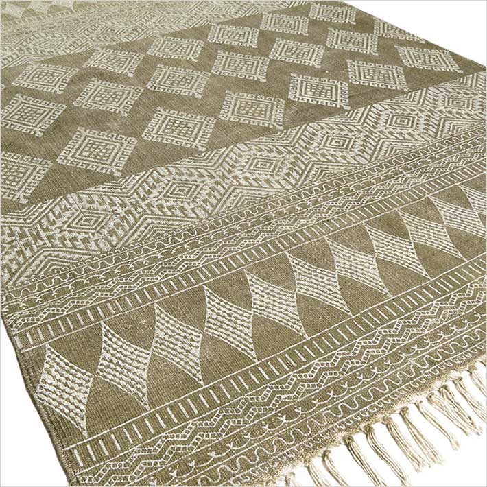 Green Cotton Block Print Accent Area Boho Dhurrie Rug Hand Woven Flat Weave - 3 X 5, 4 X 6 ft