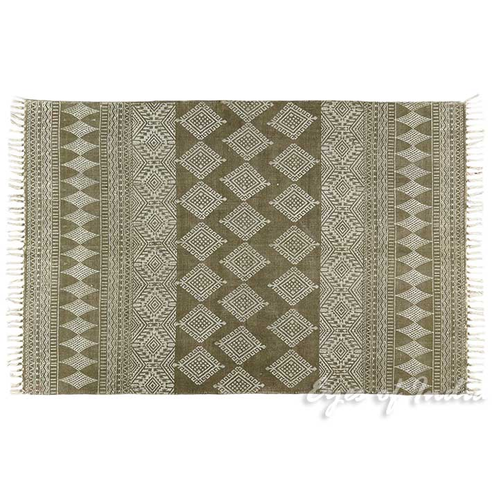 Green Cotton Block Print Accent Area Boho Dhurrie Rug Hand