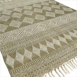 Green Cotton Block Print Accent Area Dhurrie Rug Hand Woven Flat Weave - 3 X 5, 4 X 6 ft