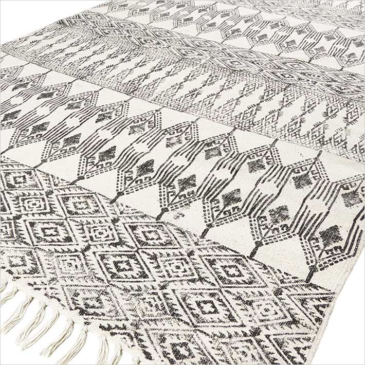 Black White Cotton Block Print Area Accent Dhurrie Rug Bohemian Flat Weave - 3 X 5 to 6 X 9 ft